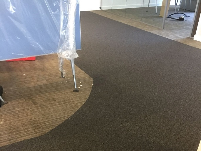 Another view of the carpet tiles we installed.