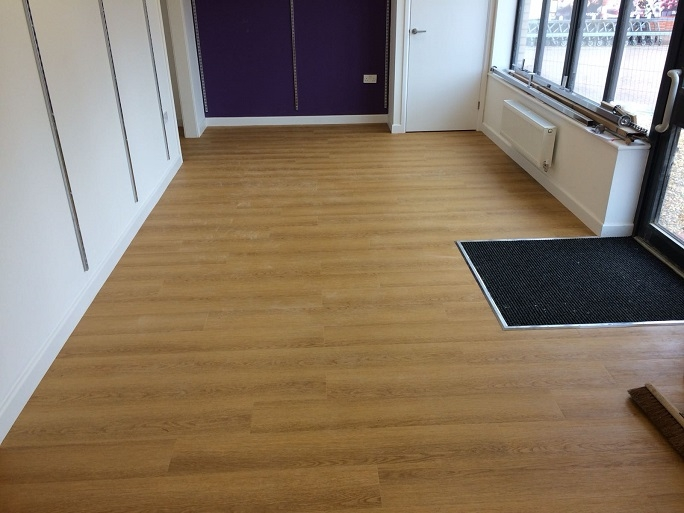 The flooring we laid in the charity shop.