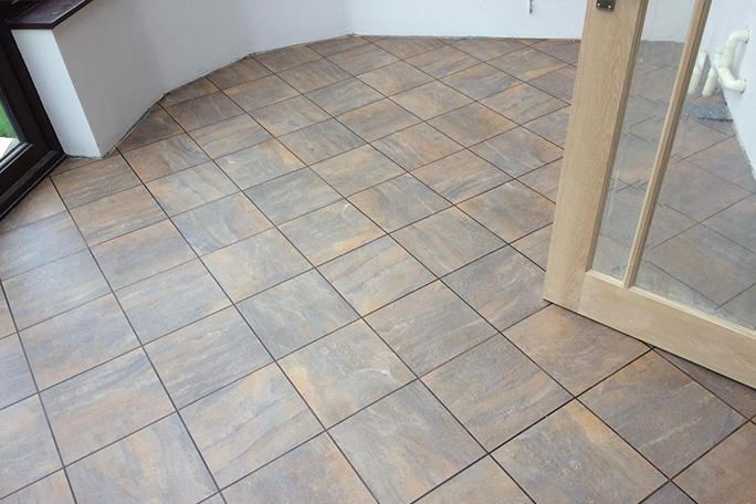 Square Karndean Tiles Laid on the Diagonal