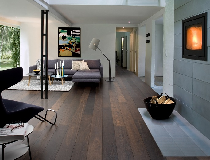 Natural wooden flooring in apartment.