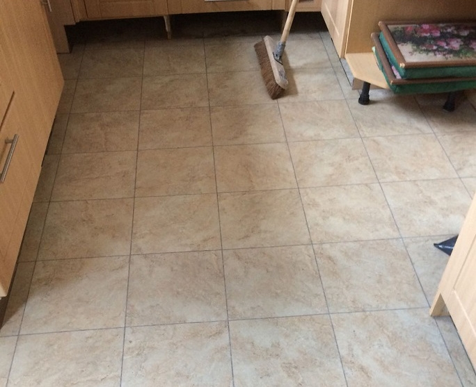 Another view of the vinyl floor tiles we used in the job.