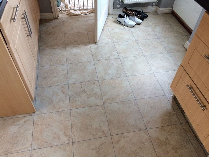 The vinyl floor covering in the kitchen area.