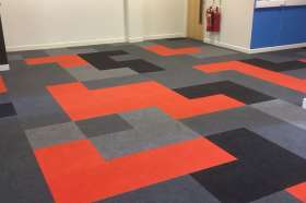 The Tetris board flooring we installed.
