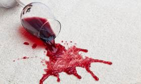 Wine spilt on a cream carpet at Christmas.